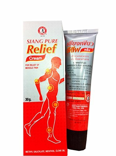 6 Packs of Siang Pure Relief Cream, for Relief of Muscle Pain. Methyl Salicylate, Menthol, Clove Oil. (30 G/ Pack)