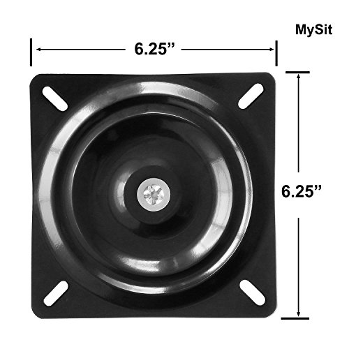 MySit 6.25″ Bar Stool Swivel Plate Replacement, Square Swivel Mechanism for Recliner Chair or Furniture – Ball Bearing Swivel Boat Seat (SwivelPlate_6.25)