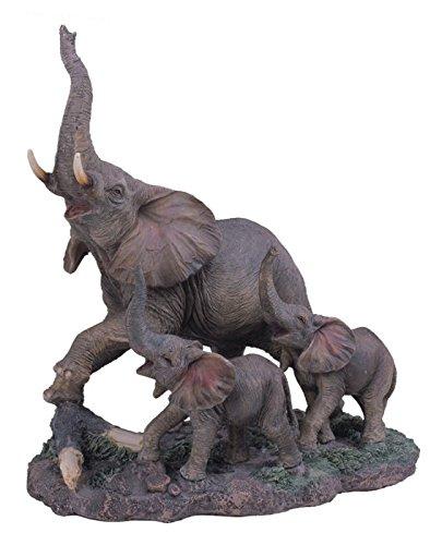 (StealStreet SS-G-54138 Polyresin Gray Big Elephant & Two Baby Elephants Figurine, 10