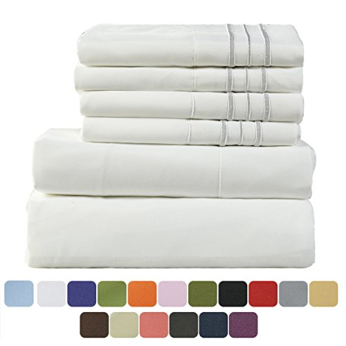 TasteLife 105 GSM Deep Pocket Bed Sheet Set Brushed Hypoallergenic Microfiber 1800 Bedding Sheets Wrinkle, Fade, Stain Resistant - 4 Pcs(White, Twin) (Plaid Sofa Sets)