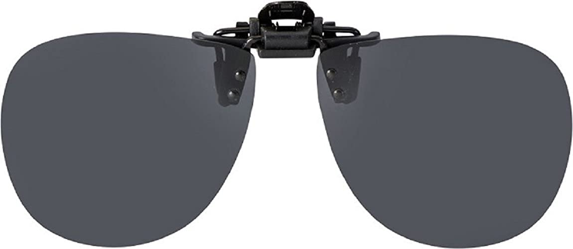Flip-ups Clip-on Plastic POLARIZED Aviator Goggle Style 62mm Gray