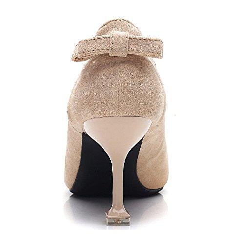 Femmes Suede Pointu Toe Talons Kitten Court Chaussures Dames Glissement Sur Les Chaussures De Mariée De Prom Party De Mariée Beige N3ezmL
