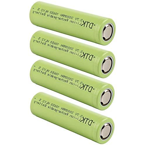 DTK 18650 Battery 3.7V 3000mAh Li-ion Rechargeable High Drain Batteries Flat Top < 4 Packs >