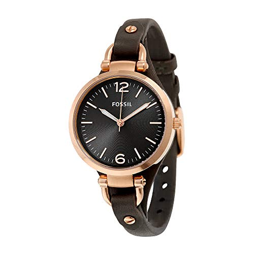 Fossil Women's Georgia Quartz Stainless Steel and Leather Casual Watch, Color: Rose Gold-Tone, Grey (Model: ES3077)