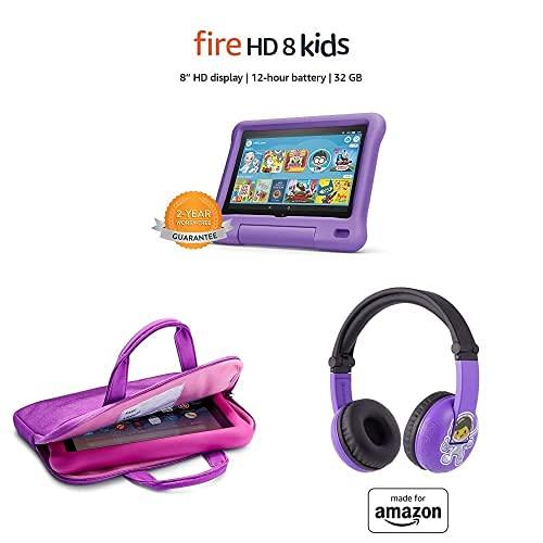 "Fire HD 8 Kids Tablet, 8"" HD Display (32 GB, Purple) + Zipper Sleeve (Purple) + Purple PlayTime Bluetooth Headset"
