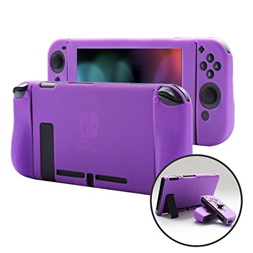 Pandaren Nintendo Switch Cover Skin for Consoles and Joycon 3in1 Silicone Case with Larger HandGRIP Protector(Purple)