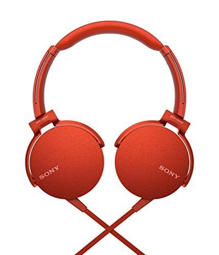 Sony XB550AP Extra Bass On-Ear Headphone, Red (2017 model) 2021 August Feel the power of extra bass 30 mm driver units deliver balanced sound with an exceptional low-end thanks to 5 - 22,000 Hz Dynamic Frequency Response Take calls and switch tracks with the in-line remote and mic
