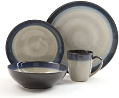 Gibson Couture Bands 16-Piece Dinnerware Set Blue and Cream  sc 1 st  Amazon.com & Amazon.com: Blue - Dinnerware Sets / Dining u0026 Entertaining: Home ...