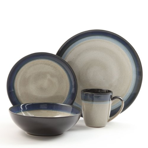 Elite Dinnerware Collection (Gibson Couture Bands 16-Piece Dinnerware Set, Blue and Cream)