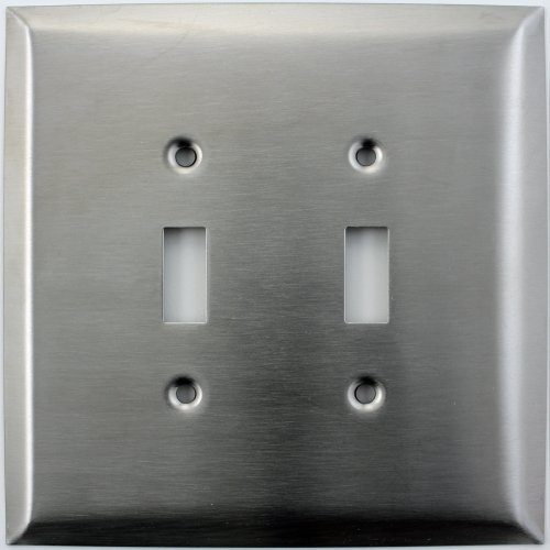 Over Sized Jumbo Satin Stainless Steel Two Gang Toggle Switch Switch Plate