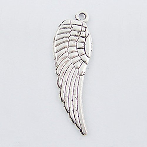 100 Silver Angel Wing Charms with Hole 30 x 10mm Angel Wing Charm Angel Sterling Silver Keychain