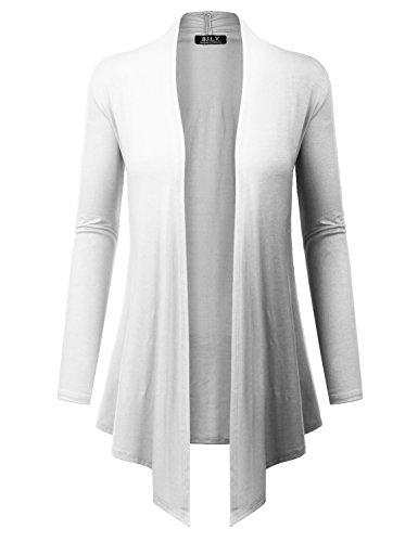BH B.I.L.Y USA Women's Open Front Drape Hem Lightweight Cardigan with Pockets White Medium