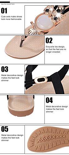 Cinturini T Sandali Scarpe da a Appartamento Bmeigo Strass Spiaggia per Elastiche Clip Infradito A Black Estivo Cinture da Romana Boho Donna ax1BqwUd
