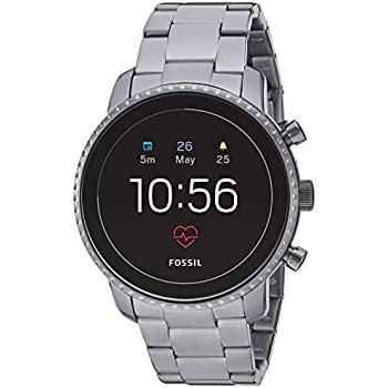 Fossil Men's Gen 4 Explorist HR Heart Rate Stainless Steel Touchscreen Smartwatch, Color: Smoke Grey (Model: FTW4012)