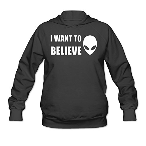 Bro-Custom I Want To Believe Hoodies For Women's Size S Black