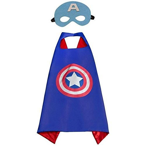 (JDProvisions Captain America Blue Kids Cape and Mask)