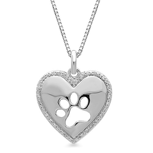 (Jewelili Sterling Silver White Diamond Accented Dog Paw Printed Heart Pendant Necklace, 18