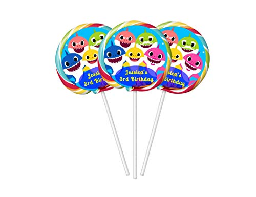 20 personalized baby shark birthday lollipop stickers, 2