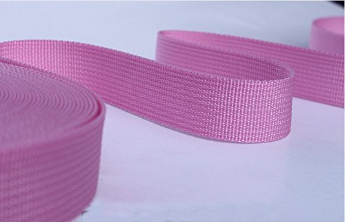 1 Inch Black Polypro Webbing, 20 Yards, For DIY Key Chain Fob, Yoga Strap, Tote, Bag Handle, Backpack Strap, Belt, Leash, Outdoor Chair and Furniture (pink) (Polypro Bags)