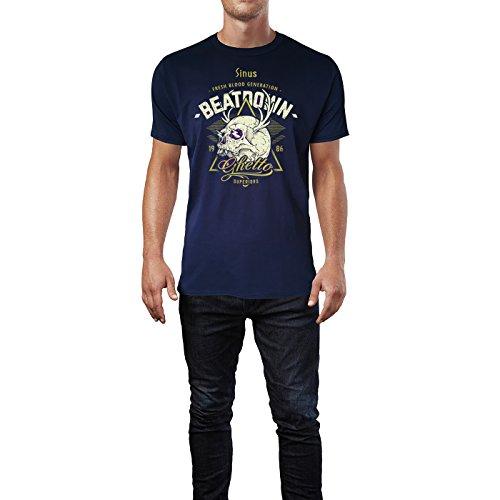 SINUS ART ® Totenkopf mit Hirschgeweih – Beatdown Herren T-Shirts in Navy Blau Fun Shirt mit tollen Aufdruck