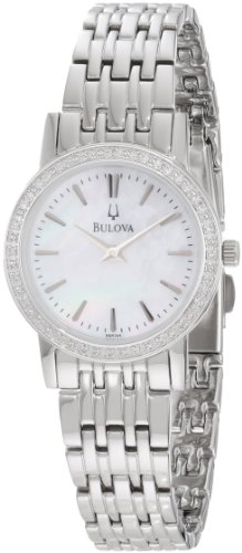(Bulova Women's 96R164 Round Diamond Bezel Watch)