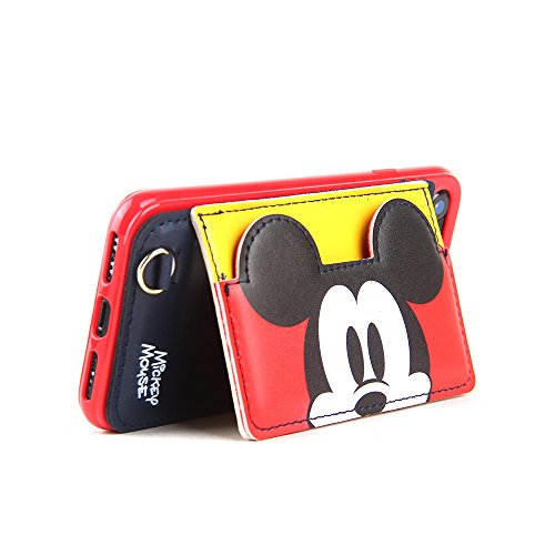 Red Mickey Mouse Leather Case with Card Holder Stand for iPhone 7 8 iPhone7 iPhone8 Regular Kickstand Disney Cartoon Protective Pratical Shockproof Cute Lovely Chic Gift Kids Boys Girls Little Girls