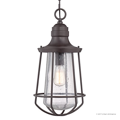 Luxury Vintage Outdoor Pendant Light, Large Size: 20''H x 9.5''W, with Nautical Style Elements, Cage Design, Estate Bronze Finish and Seeded Glass, Includes Edison Bulb, UQL1125 by Urban Ambiance by Urban Ambiance (Image #7)