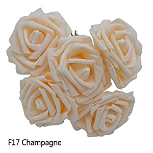 GSD2FF 10 Heads 5 Heads 8CM Artificial Rose Flowers Bridal Bridesmaid Bouquet Wedding Home Decoration Scrapbook DIY Supplies,Champagne,10 Heads 26