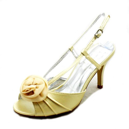 SendIt4Me Luxury satin high heel rosette toe bridesmaid/party shoes Gold CTiUgXFf7