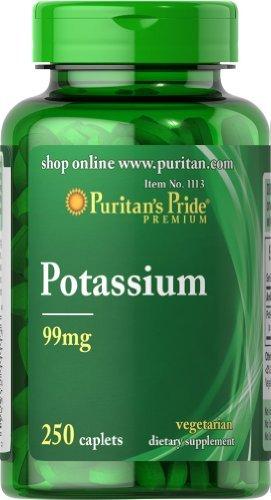 Puritans Pride Potassium 99 Mg Caplets, 250 Count