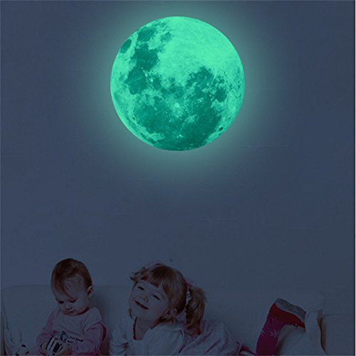 iLXHD 3D Planet Glow in The Dark Fluorescent Wall Sticker Removable Home Decor Sticker 30cm - Out Cut Angels Wallpaper