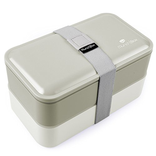 Cool Gray Bento Box - Multi-Compartment Bento Lunch Box with Free Utensils