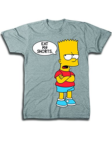 Mens' Bart Simpson Classic Shirt - Simpsons Eat My Shorts Shirt - The Simpsons Graphic T-Shirt (Famous Halloween Phrases)