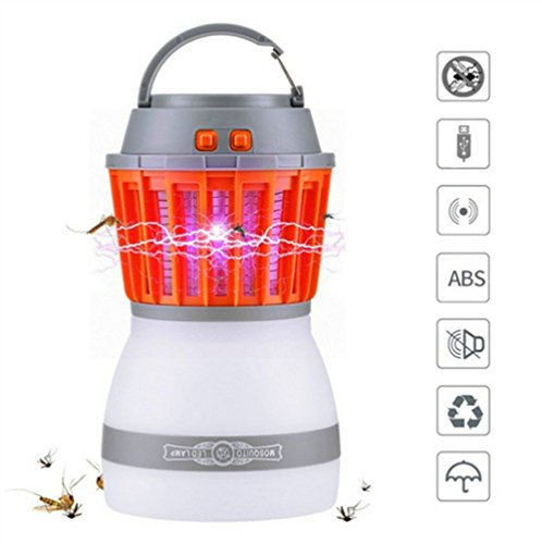 NOMSOCR Outdoor & Indoor Mosquito Zapper 2-in-1 Bug Zapper & Camping Lamp Natural Mosquito Killer Lamp Travel Camping Lantern Pest Control, Usb Charging, IP67 Waterproof &Portable for Home (White)