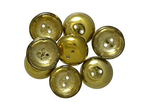 (4pcs Czech Pressed Glass Cup Button Beads 2-Hole, 14mm, Crystal Amber)