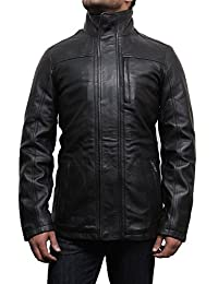 ABSY Mens Real Leather Jacket Mid Length Warm