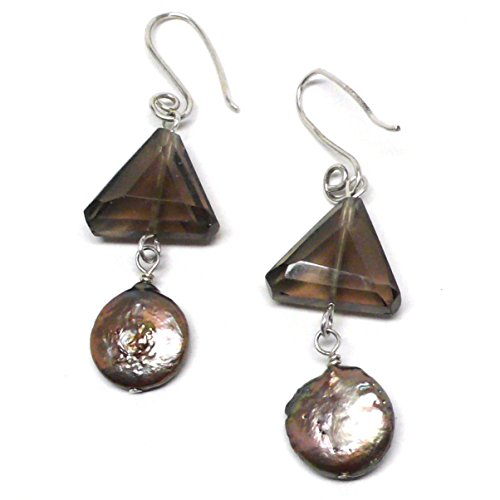 Created Smoky Quartz Triangle Mocha Cultured Freshwater Coin Pearl Earrings Sterling Silver