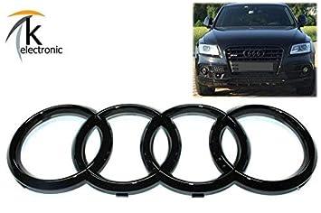 schwarz gl/änzend Das Automotive Ringe-Emblem f/ür den K/ühlergrill vorne und die Auto-R/ückseite