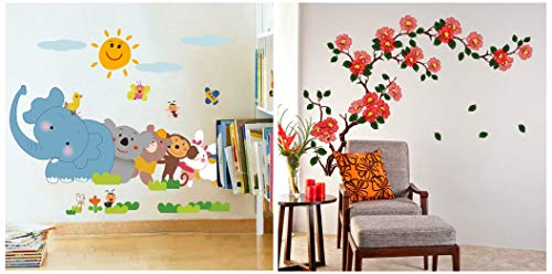 Jungle Cartoon Cute Animals Floral Branch Wall Sticker Decals Design