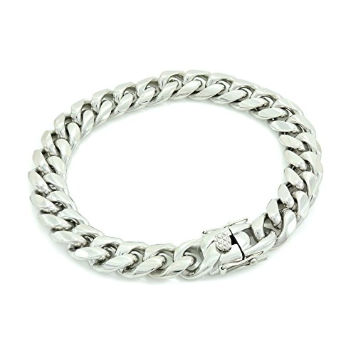 Solid Silver Finish Stainless Steel 12mm Thick Miami Cuban Link Chain Box Clasp Lock (Bracelet - Long 8' Bracelet