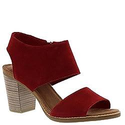 Toms Women's Majorca Cutout Sandal Red Suede 6.5 B Us