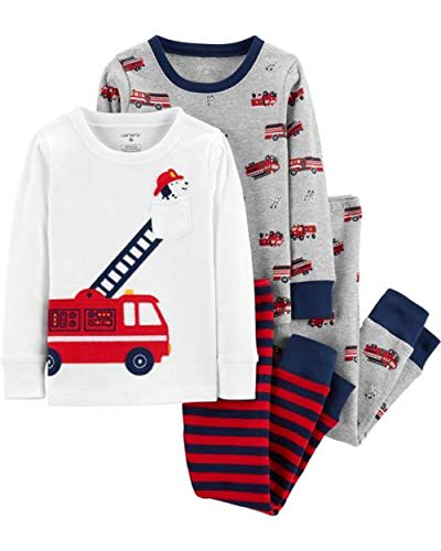Carter's Boy's 4-Piece Snug Fit Cotton PJ Set, Firetruck, -