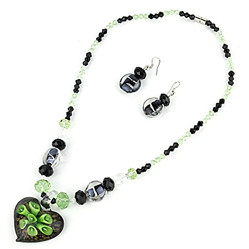 Heart Pendant Murano Glass Necklace with Matching Murano Glass Beads Earrings Set (Green Murano Glass Ring)