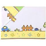 Juego de sábanas para cuna 60x120 cm. Un PAISAJE de alegres y divertidos dibujos. Incluye: Sábana encimera+Funda almohada+Sábana bajera. Estampada. 738005 KOKETES