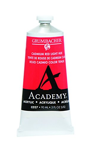 Grumbacher Academy Acrylic Paint, 90ml/3 oz Metal Tube, Cadmium Red Light Hue Acrylic Colors Cadmium Red Light