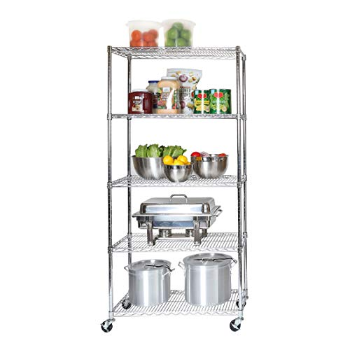 Seville Classics UltraDurable Commercial-Grade 5-Tier NSF-Certified Steel Wire Shelving with Wheels, 36