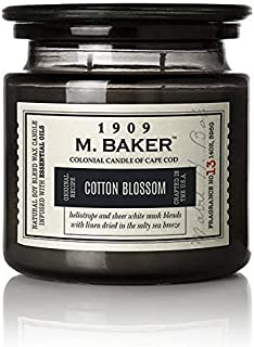 product image for M. Baker by Colonial Candle Scented Apothecary Glass Jar Candle, Cotton Blossom, Natural Soy Wax Blend, 14 Oz, Two Premium Cotton Wicks, Single (Sea Salt, Peach, Lemon Zest, Mandarin)