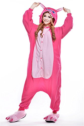 [VU ROUL Kigurumi Onesies Anime Lilo and Stitch for Adults L Pink] (Bananas In Pyjamas Costume Large)