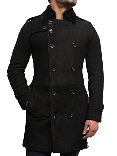 BRANDSLOCK Mens Luxury Spanish Merino Fur Sheepskin Belted Pea Coat Long Duffle Coat Ideal for Winter (M, Black)