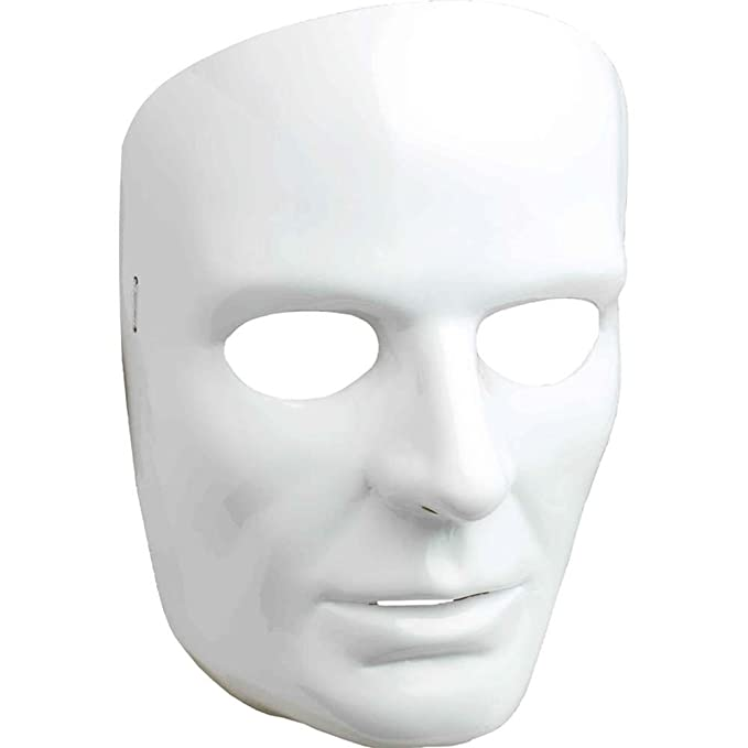 amazon com forum novelties men s white full face mask toys games
